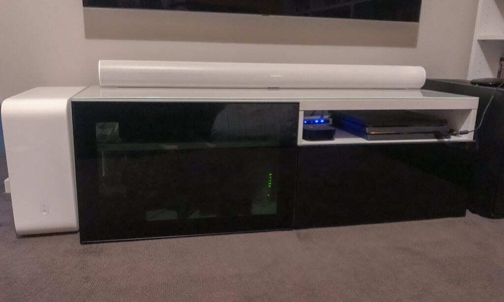 Besta unit with glass doors
