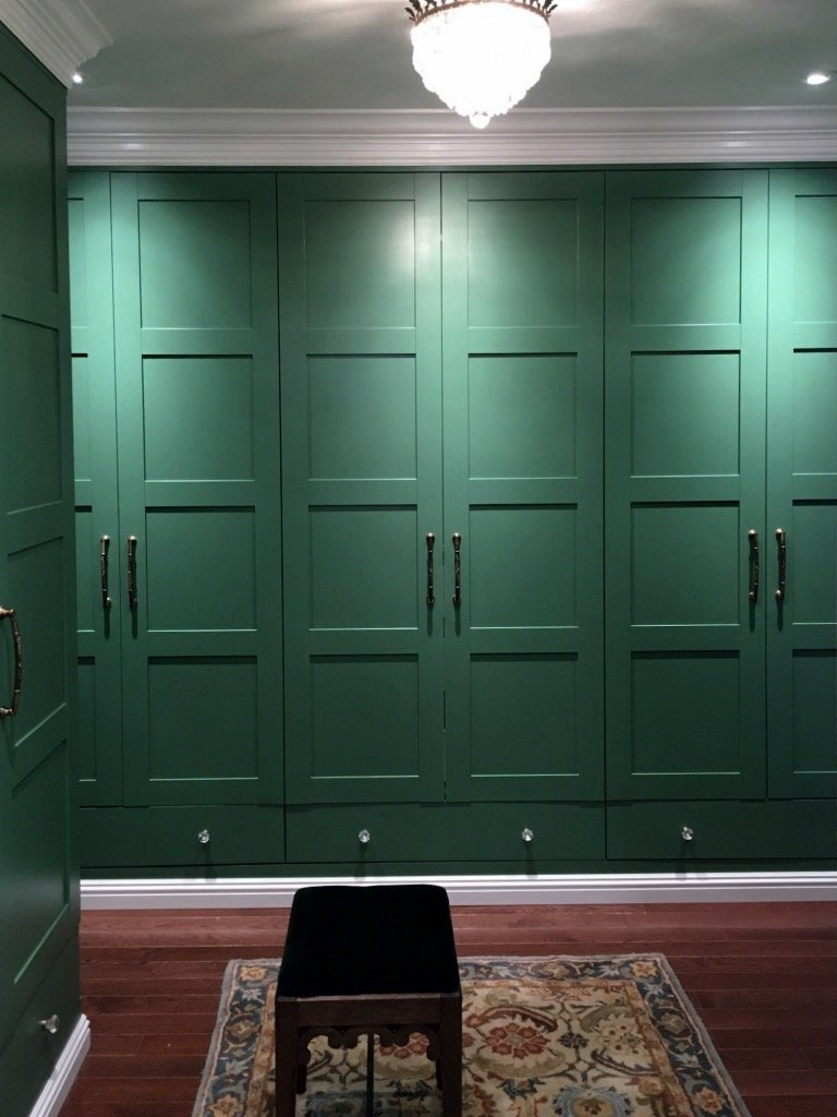 green walk through closet PAX wardrobe
