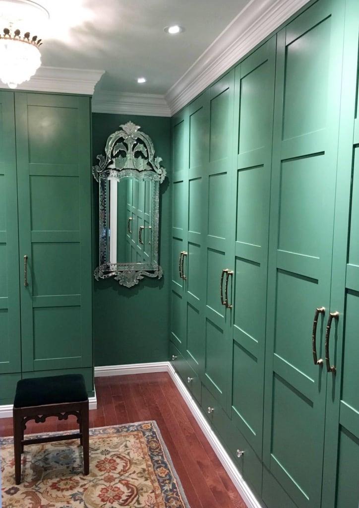 green walk through closet PAX wardrobe