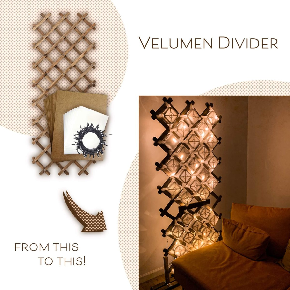 IKEA Trellis as a brilliant lighted room divider