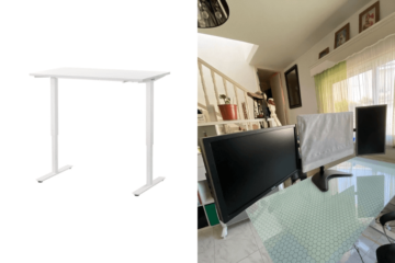 glass standing desk