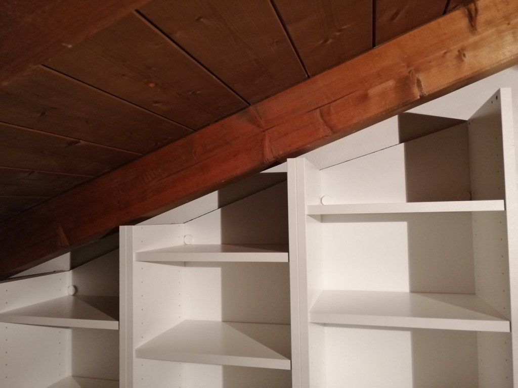 sloped ceiling bookcases ikea billy hack