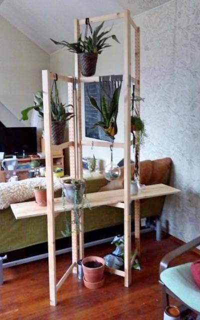 plant room divider with shelf