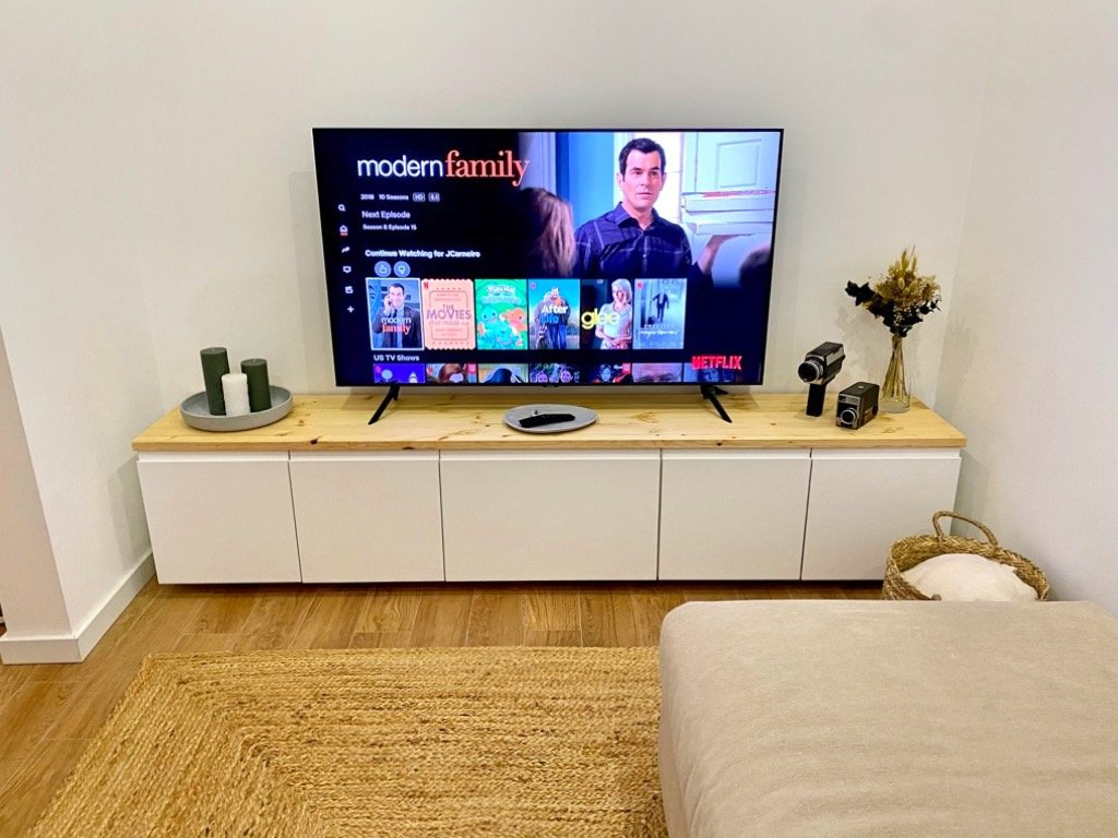 IKEA TV cabinet with wood top
