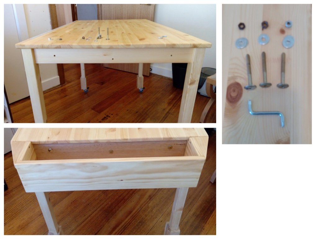 fabric cutting table with tool well