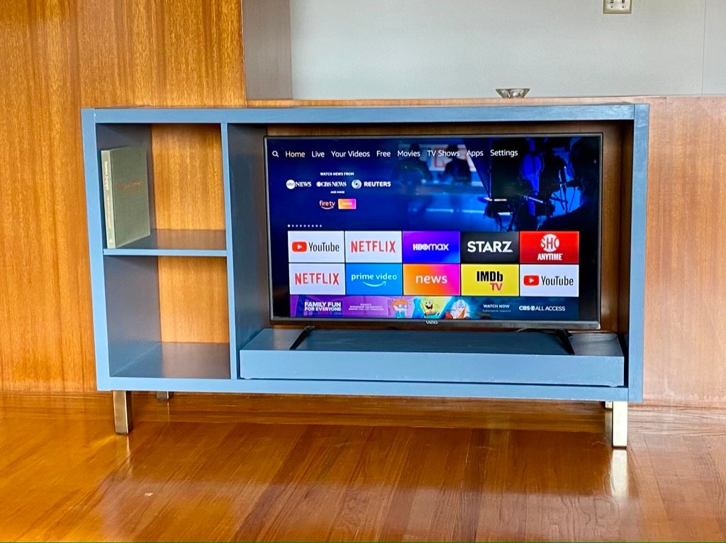 gray walnut KALLAX to blue TV stand