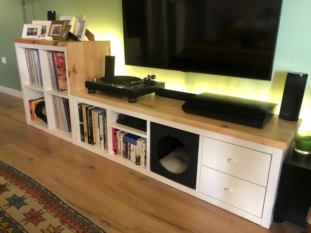 TV unit and vinyl record storage in one KALLAX