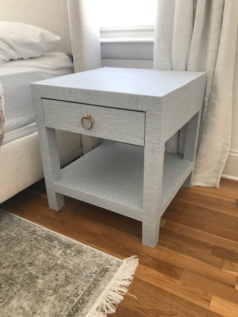 linen-wrapped nightstand ikea LACK hack