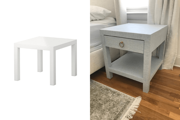 linen wrapped nightstand