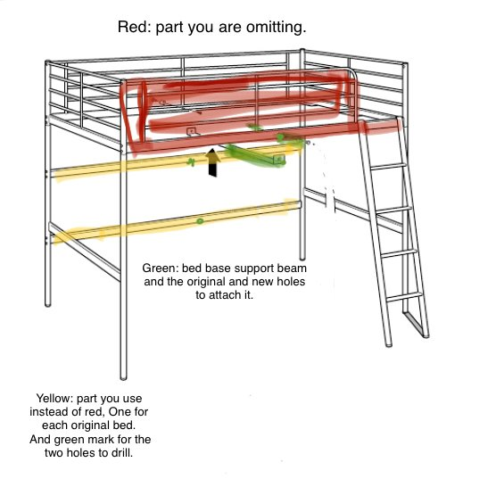 IKEA SVARTA double loft bed plan