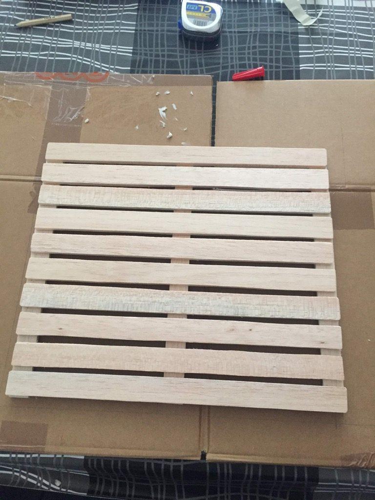 balsa wood pallet as shelves