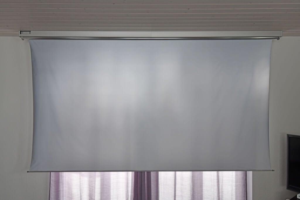 large projector screen IKEA motorized roller blind hack