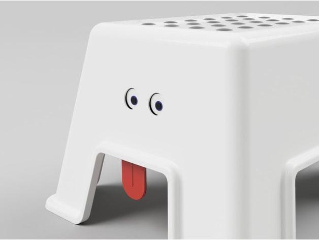 IKEA BOLMEN step stool with eyes and tongue
