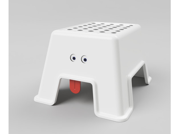 IKEA BOLMEN step stool with funny face