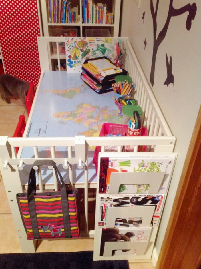 kids desk hacked from cot