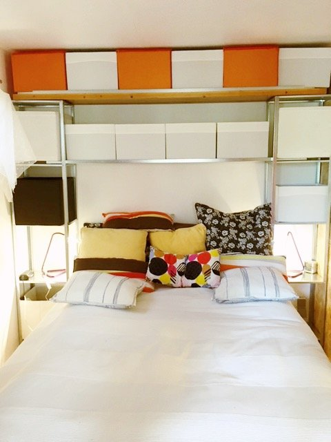 Affordable over the bed storage for small bedrooms