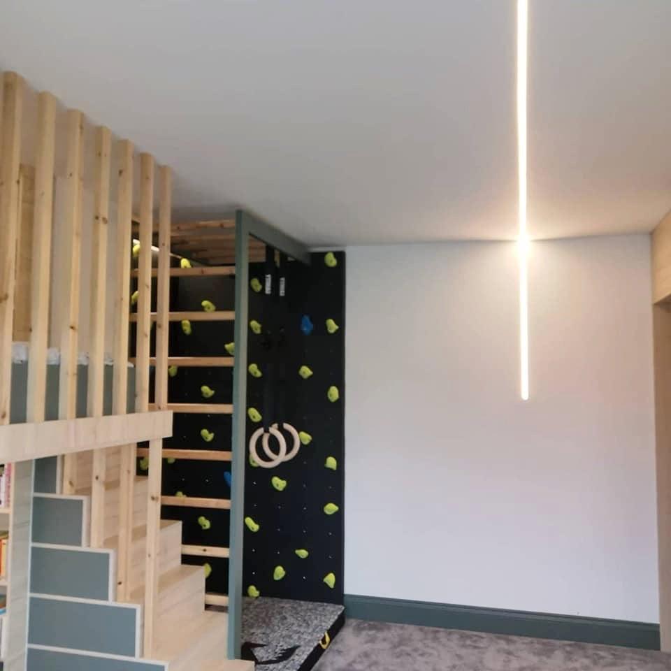 kids room with climbing wall