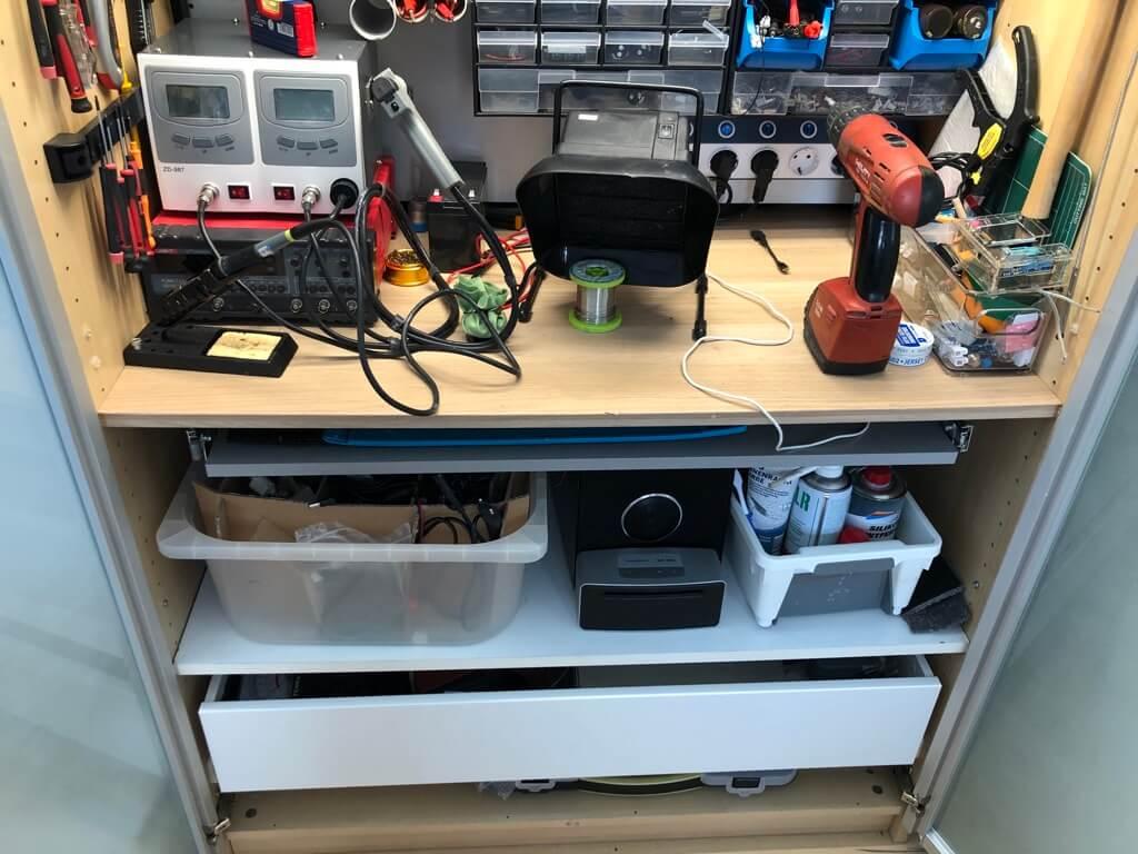 electronics workbench in an IKEA PAX wardrobe