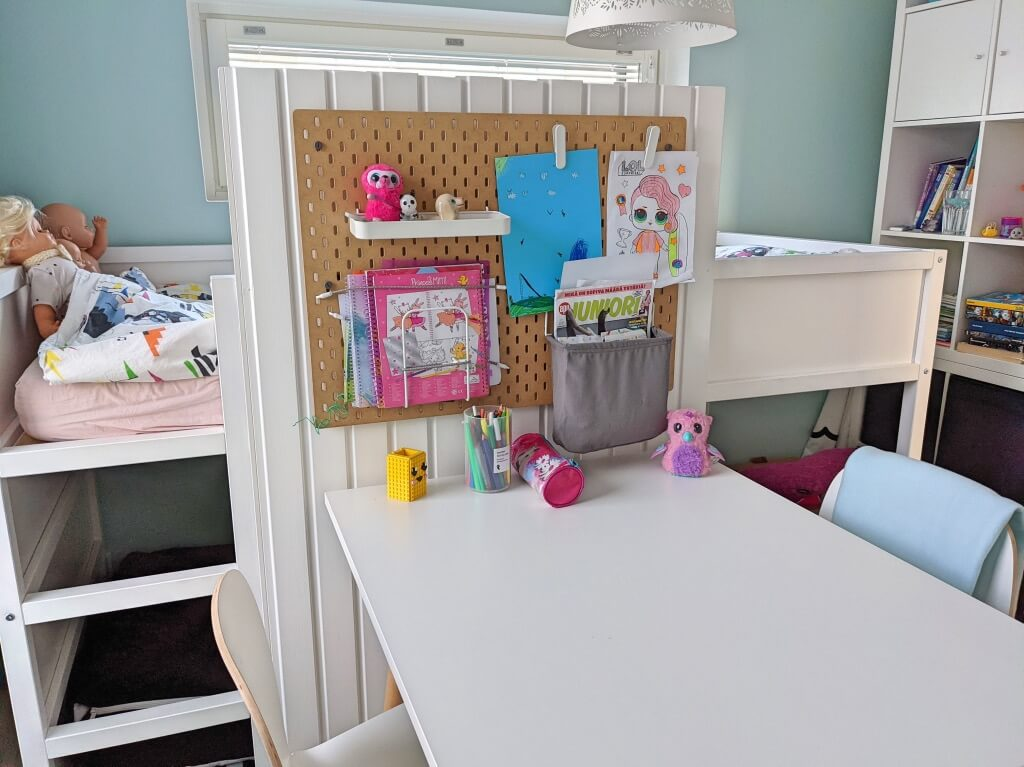 large desk with pegboard