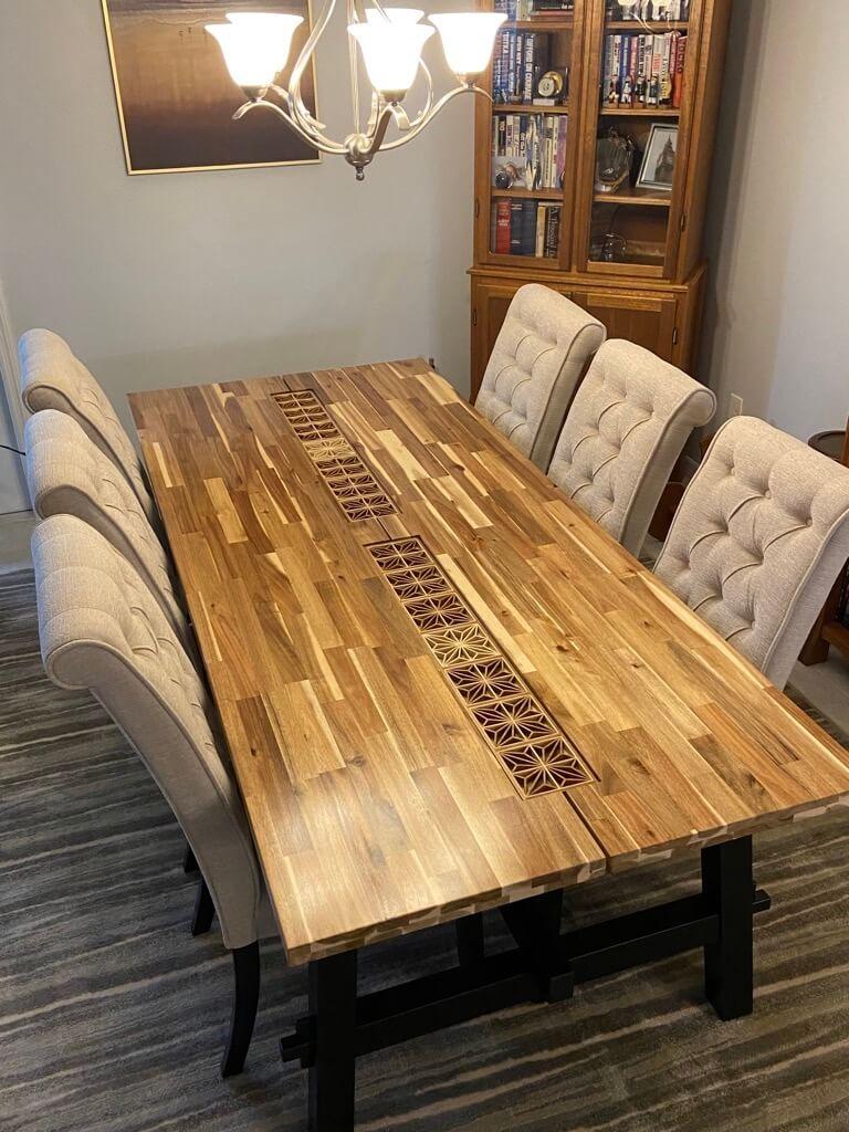 japanese kumiko on ikea skogsta dining table