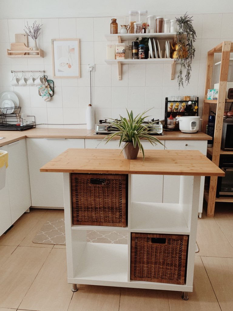 affordable kitchen island - IKEA KALLAX hack