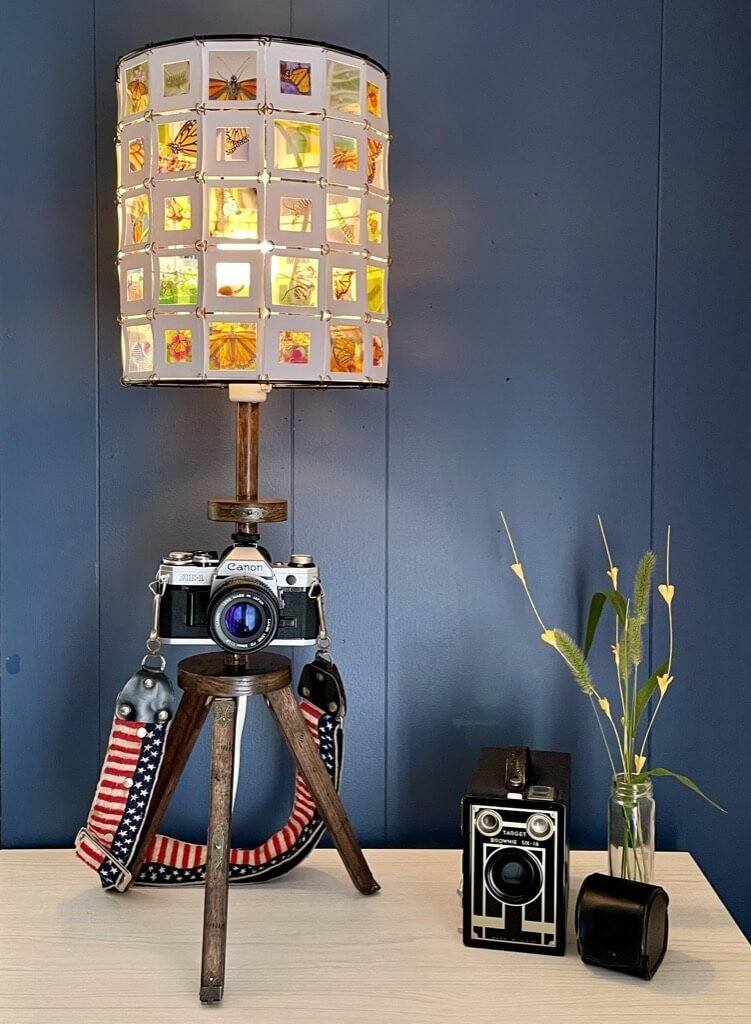 VINTAGE CAMERA LAMP WITH 35MM SLIDE SHADE