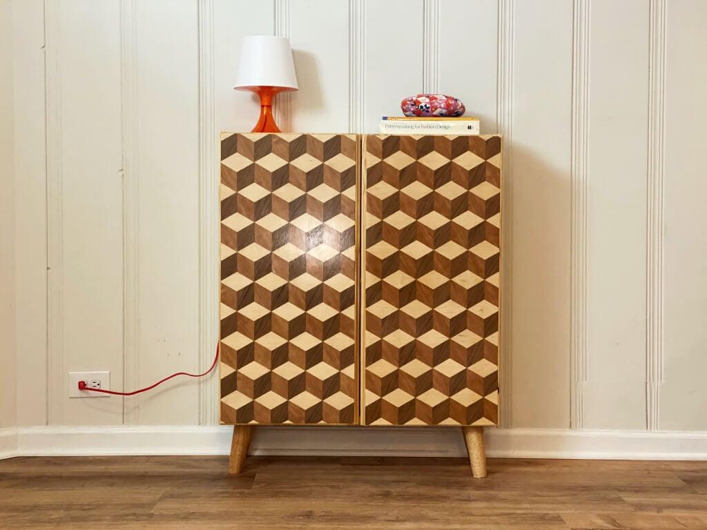 Louis Cubes parquet design on IKEA IVAR door