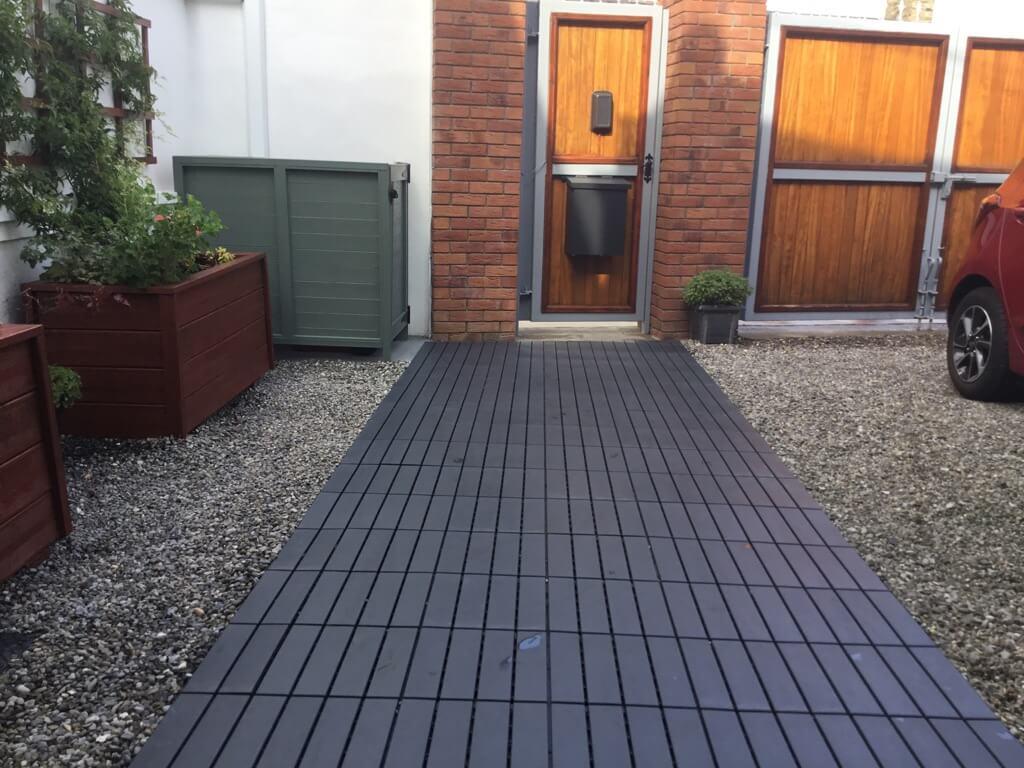 runnen floor decking tiles locked down in place