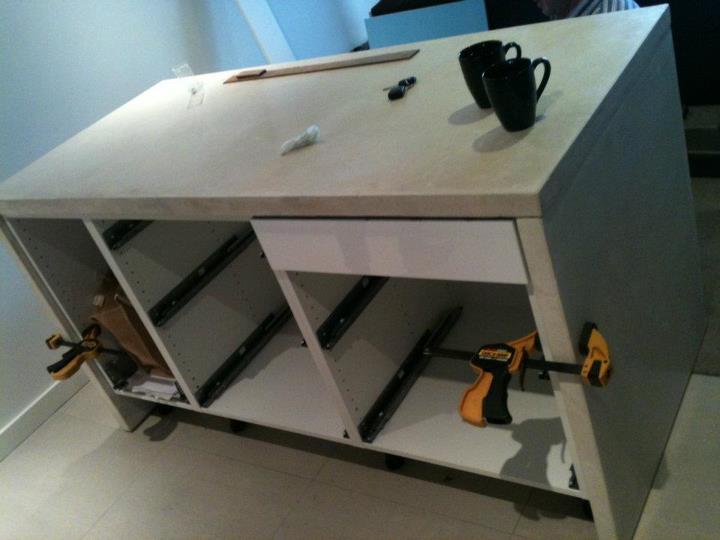 White concrete wrapped Ikea kitchen island - IKEA Hackers - IKEA ...