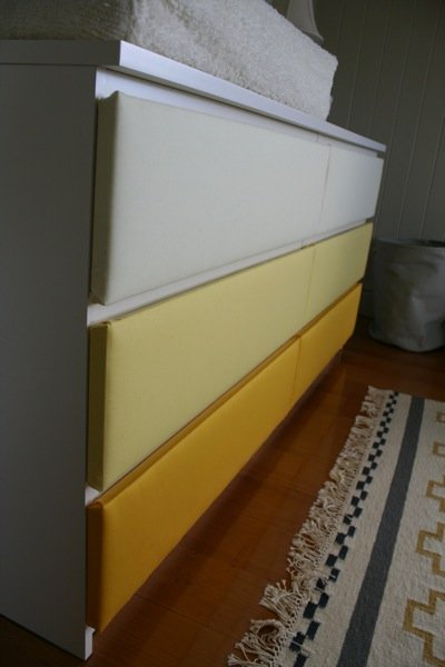 upholstered Malm drawers
