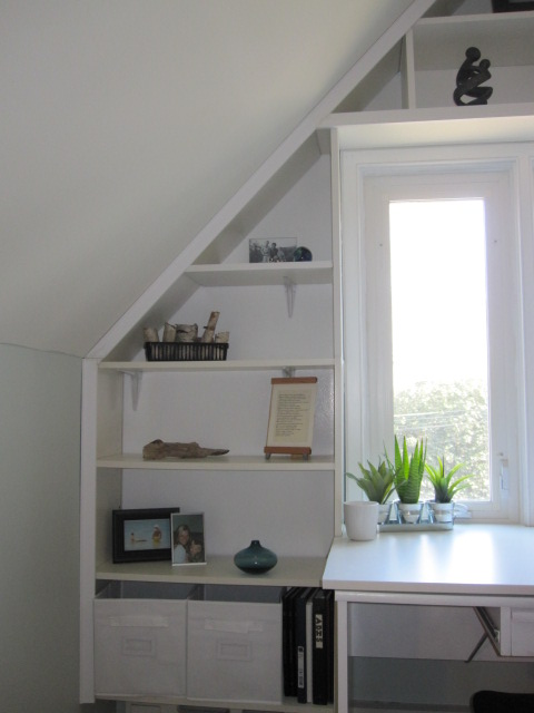 Bright Built In Office Nook From Reused Ikea Pieces