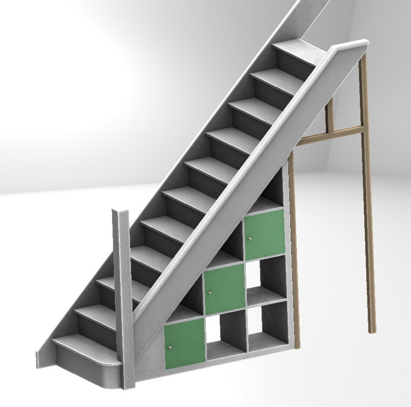 Stair Storage Shelf : Expedit under-stairs storage - IKEA Hackers - IKEA Hackers