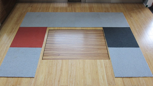 Retractable kitchen island - down position
