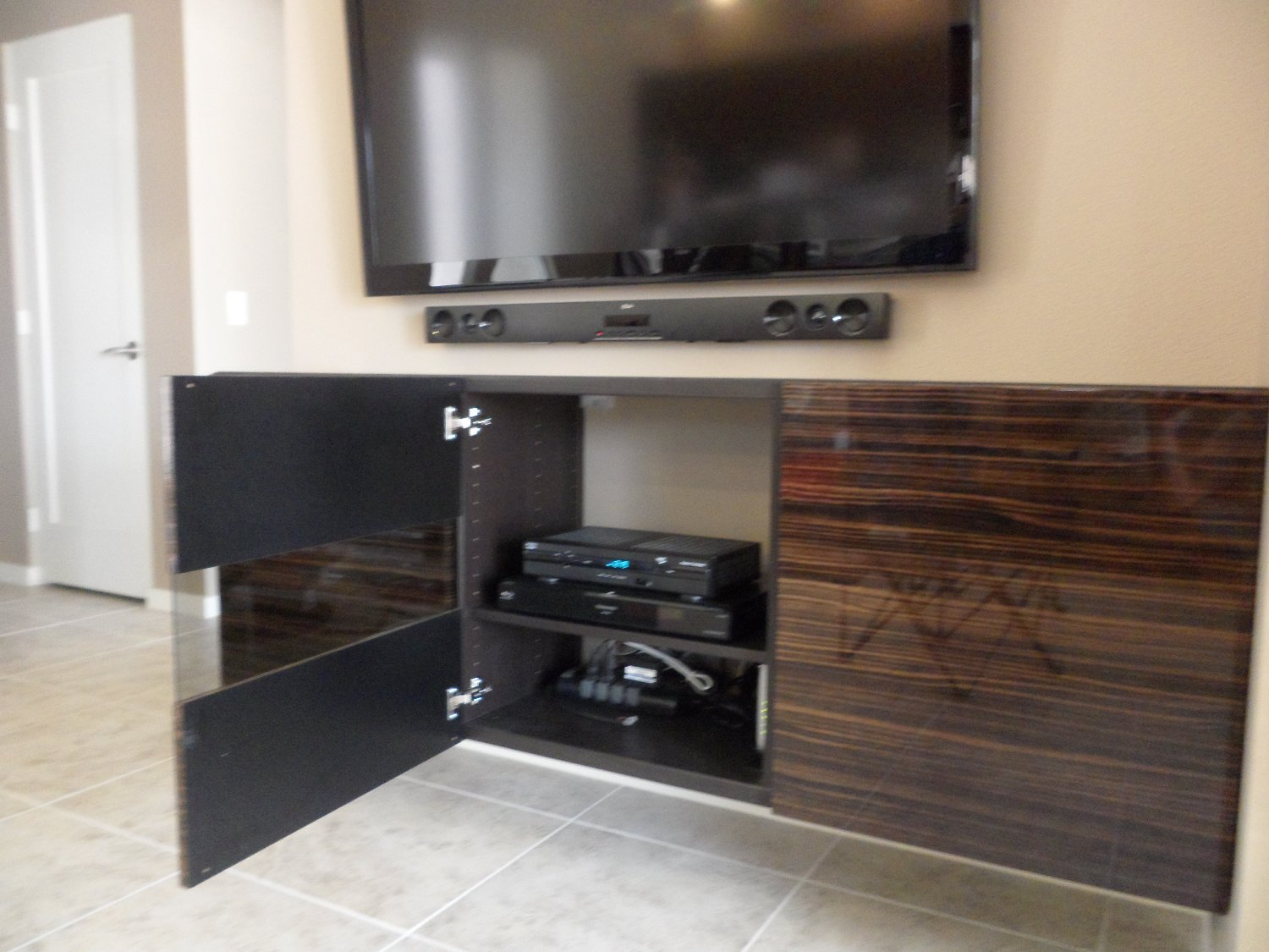 Besta Floating Media Cabinet With Flat Panel Tv