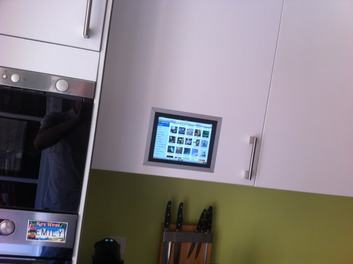 iPad Flush Mounted in Kitchen Cabinet