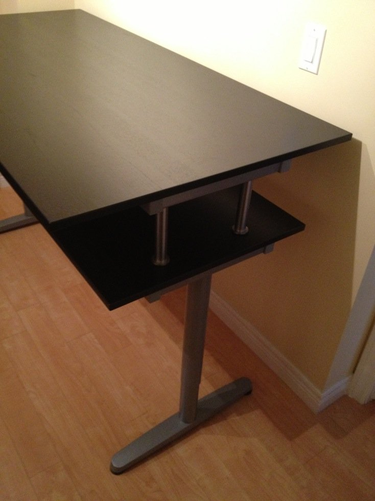 galant standing desk with monitor shelf