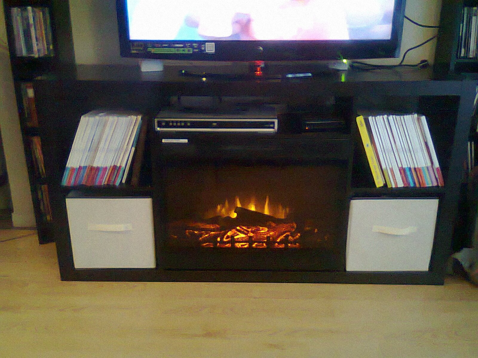 ikea expedit 4x2 turned fireplace media console ikea hackers