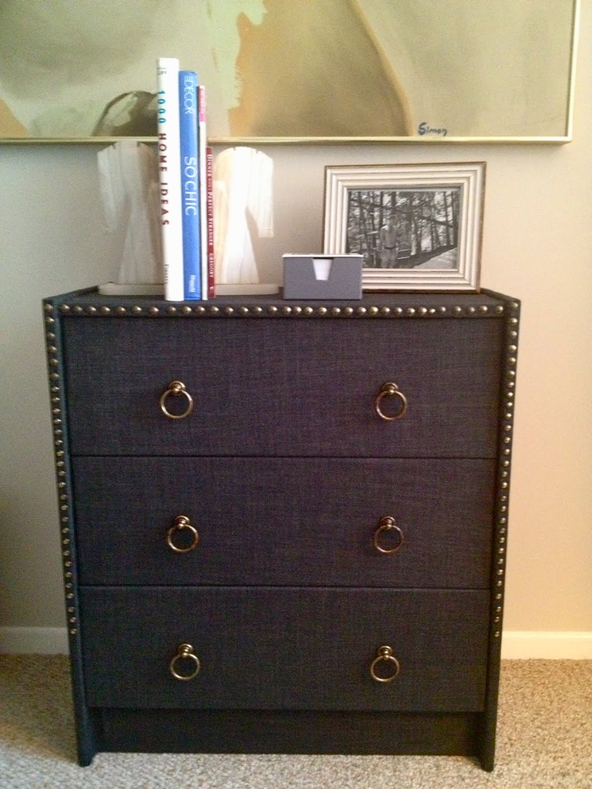 IKEA dresser wrapped in linen fabric