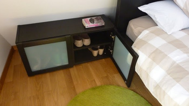 bedside table and shoe closet