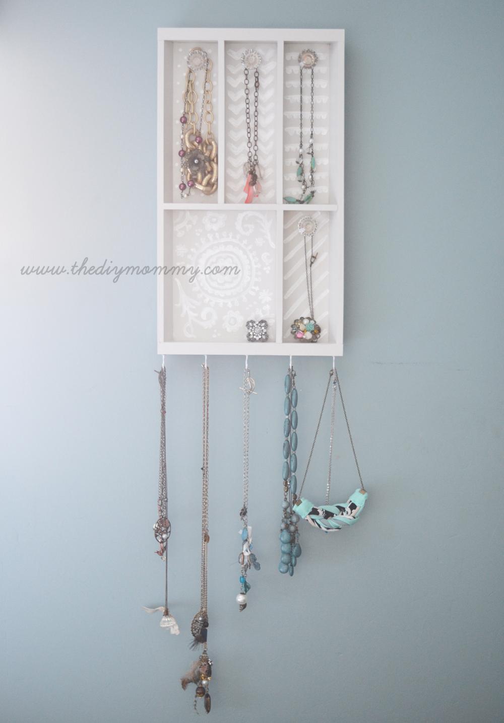 Pretty Jewelry Holder from Wooden Cutlery Tray - IKEA Hackers