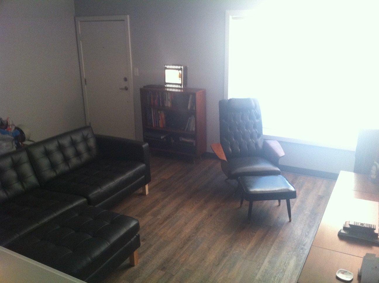 Mid Century Leather Karlstad Sofa