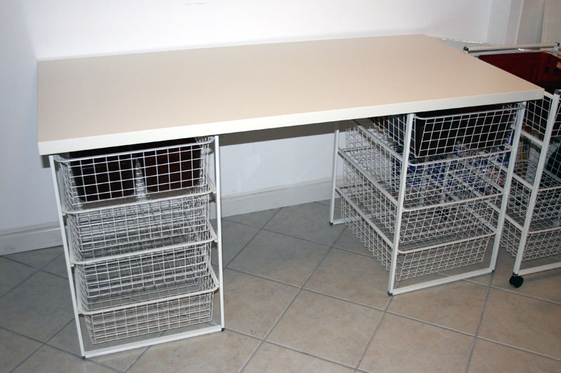 Sewing Crafting Table With Basket Storage