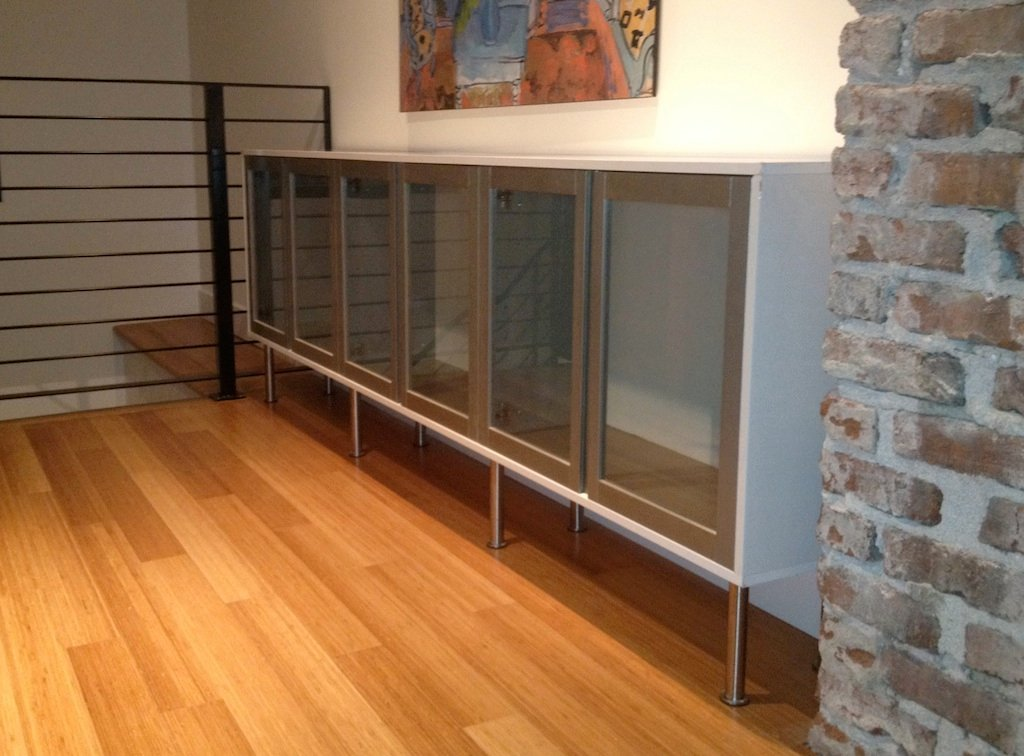 Sideboard From Glass Cupboards In Brilliant White IKEA Hackers