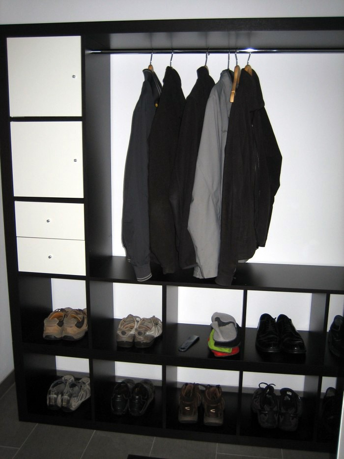 Materials: 1 EXPEDIT TV Storage Unit, 1 EXPEDIT Shelving Unit (1×4),  Different Shelf Inserts, Clothes Rail