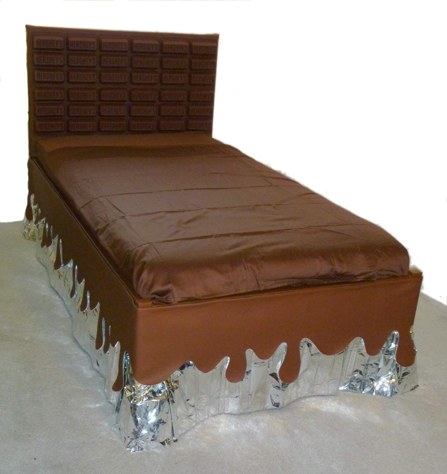 Make your own bed risers - Bed With Huge Chocolate Bar