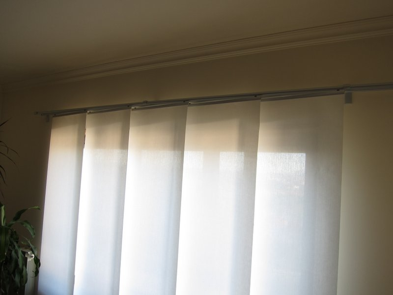 Sheer curtain room divider - Overlapping Gliding Panels Ikea Hackers Ikea Hackers