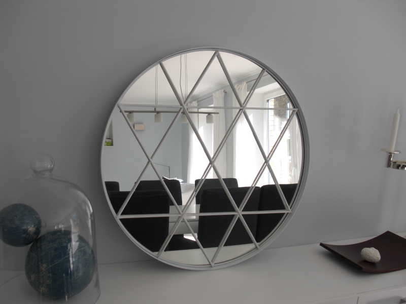grundtal mirror 6 round strips of wood wood glue spray paint. Black Bedroom Furniture Sets. Home Design Ideas