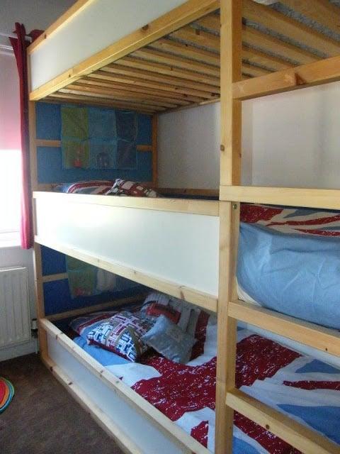 Space saving kids triple decker beds