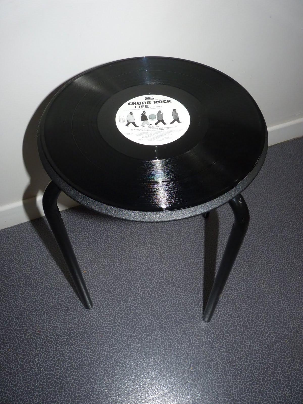 Stool with vinyl record seat IKEA Hackers IKEA Hackers