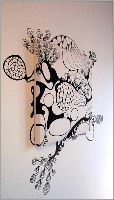 fabric and graffiti wall art